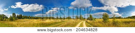 panorama rural summer landscape with a roadfield and forest. summer dayblue sky with white clouds. rural path. panoramic view.