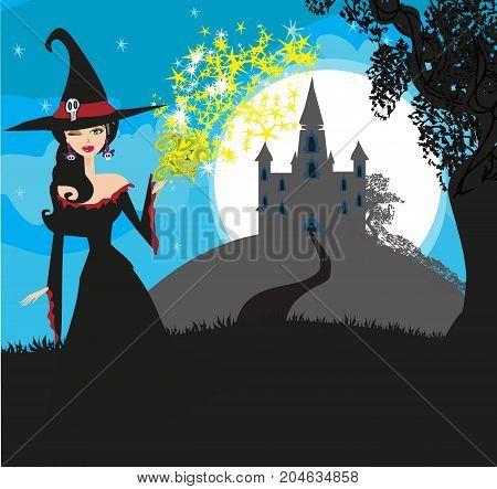vector illustration of witch casting curse landscape