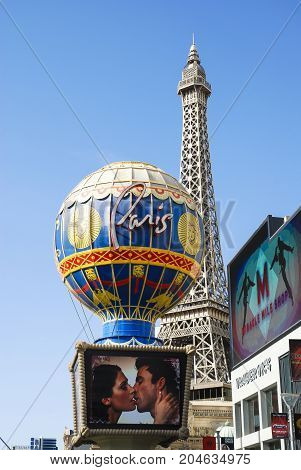 Las Vegas, May 2008 USA: Replica of the Eiffel Tower with Montgolfier Balloon on the Las Vegas Strip, as part of the Paris Hotel and Casino, located on the south strip.