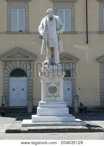 Prato Italy august 2 2015: Giuseppe Mazzoni monument on Cathedral Square