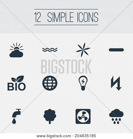 Elements Weather, Earth, Natural Food And Other Synonyms Marine, Sea And Faucet.  Vector Illustration Set Of Simple Energy Icons.