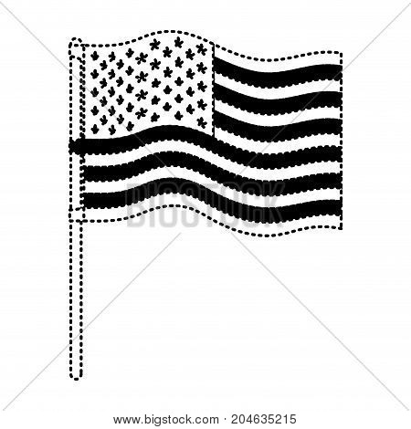 flag united states of america in flagpole wave in dotted monochrome silhouette vector illustration