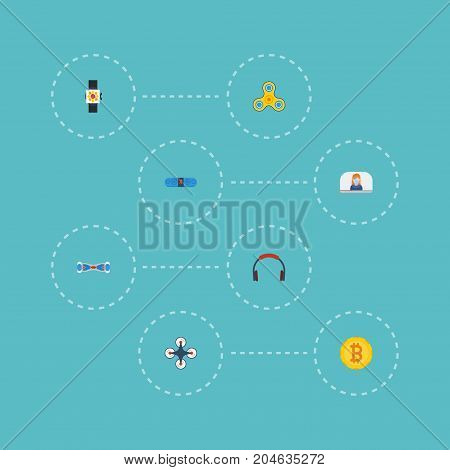 Flat Icons Earphone, Money, Quadcopter And Other Vector Elements