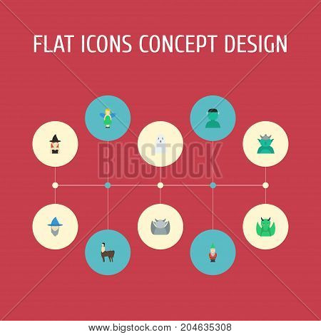 Flat Icons Dinosaur, Wizard, Halloween And Other Vector Elements