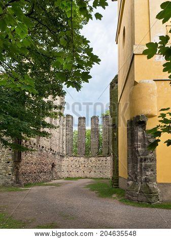 Remains of Gothic Church in Panensky Tynec Village. Czech Republic.