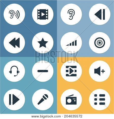 Elements Playback, Vintage Reciever, Increase And Other Synonyms Star, Plus And Louder.  Vector Illustration Set Of Simple Music Icons.