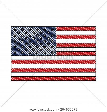 flag united states of america in colored crayon silhouette vector illustration