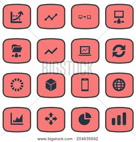 Elements Coordinate Axis, Increase Graph, Progress And Other Synonyms Pie, Cube And Shape.  Vector Illustration Set Of Simple Information Icons.