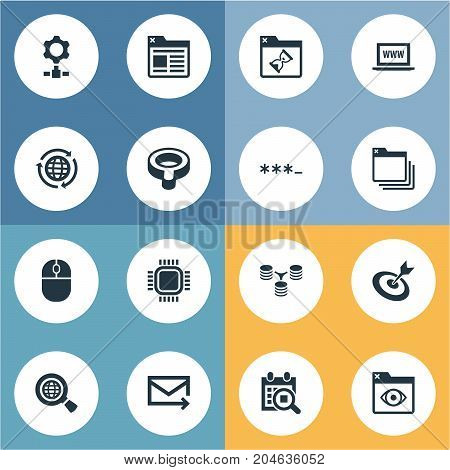 Elements Webpage, Look, Aim And Other Synonyms Password, Processor And Junction.  Vector Illustration Set Of Simple Optimization Icons.