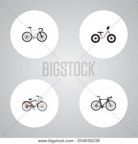 Realistic Exercise Riding, Road Velocity, Journey Bike And Other Vector Elements