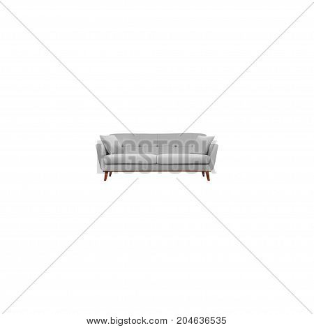 Realistic Divan Element. Vector Illustration Of Realistic Settee Isolated On Clean Background