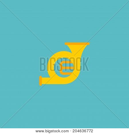 Flat Icon French Horn Element. Vector Illustration Of Flat Icon Trombone Isolated On Clean Background