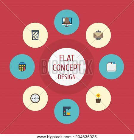 Flat Icons Calculate, Whiteboard, Trash Basket And Other Vector Elements