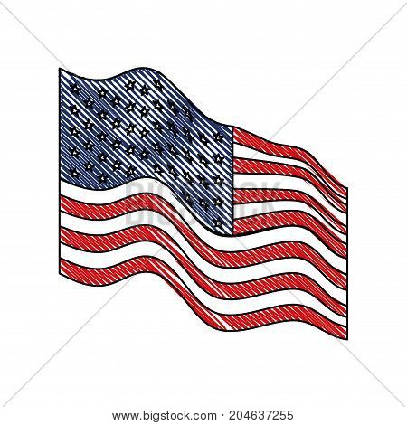 flag united states of america waving side in colored crayon silhouette vector illustration