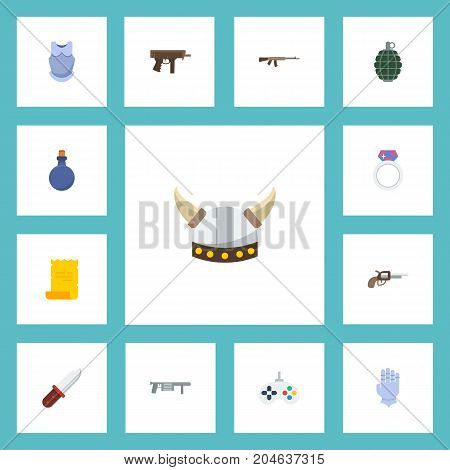 Flat Icons Handgun, Jewelry, Viking Helmet Vector Elements
