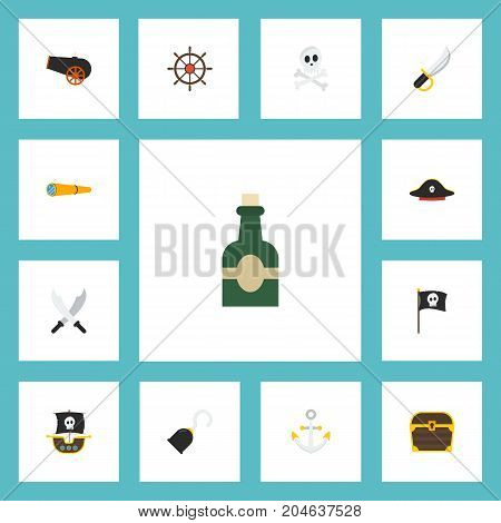 Flat Icons Chest, Sword, Pirate And Other Vector Elements
