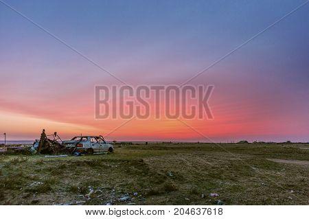 Unreal fire sunrise in Halhgol, East Mongolia
