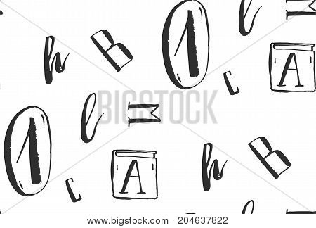 Hand drawn abstract vector creative freehand ink seamless pattern with letters in white and black colors.