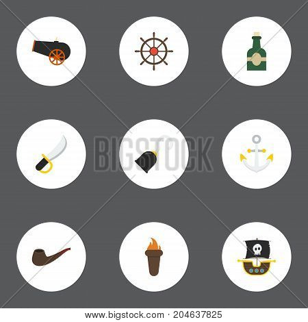 Flat Icons Pirate, Armature, Vessel And Other Vector Elements