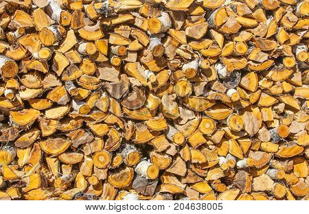 Chopped and stacked pile of pine and birch wood. Texture background