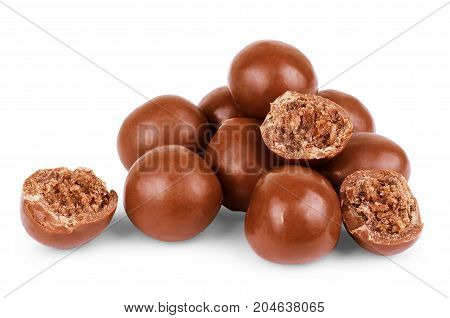 Chocolate ball candy isolated over the white background set