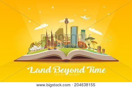 Travel to Australia. Road trip. Tourism. Open book with landmarks. Australia Travel Guide. Advertising web illustration. Summer vacation. Travelling banner. Modern flat design.