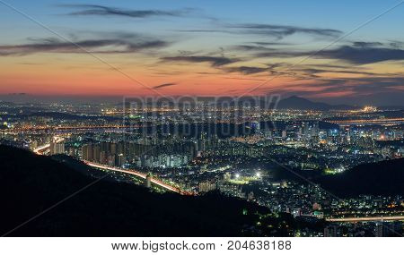 Seoul city and namsan tower at night in seoulKorea