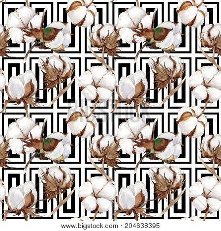 Wildflower cotton flower pattern in a watercolor style. Full name of the plant: cotton. Aquarelle wild flower for background, texture, wrapper pattern, frame or border.