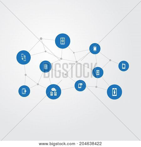 Elements Correspondence, Letter, Media And Other Synonyms Mobile, Correspondence And Synchronization.  Vector Illustration Set Of Simple  Icons.