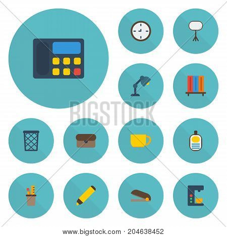 Flat Icons Puncher, Espresso Machine, Tea And Other Vector Elements