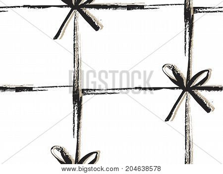 Hand drawn vector abstract Merry Christmas decoration pattern with black bows isolated on white background.Simple unusual unique pattern.Gift giving concept.Fashion and wrapping paper design.