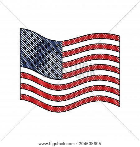 flag united states of america wave flat icon in colored crayon silhouette vector illustration