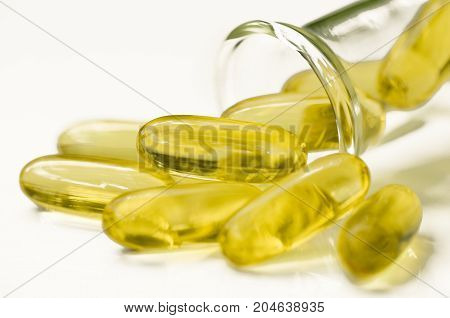 Dietary supplement in soft gelatin capsule. Science background.
