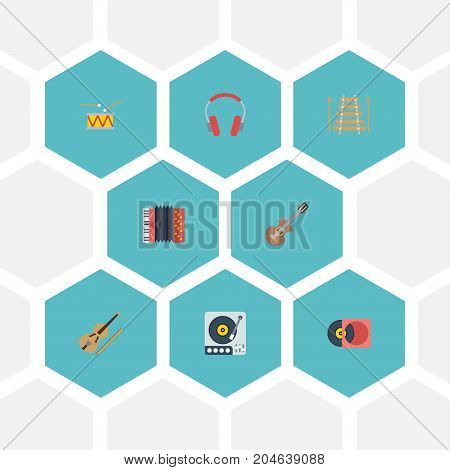Flat Icons Tambourine, Earphone, Musical Instrument And Other Vector Elements