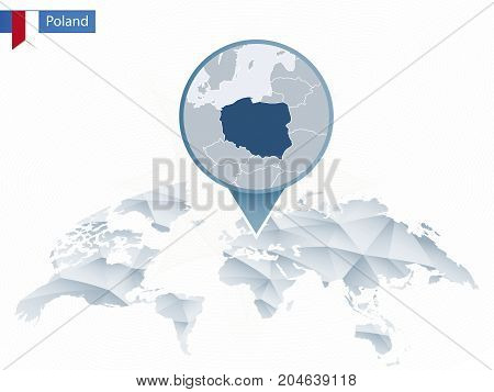 Abstract Rounded World Map With Pinned Detailed Poland Map.