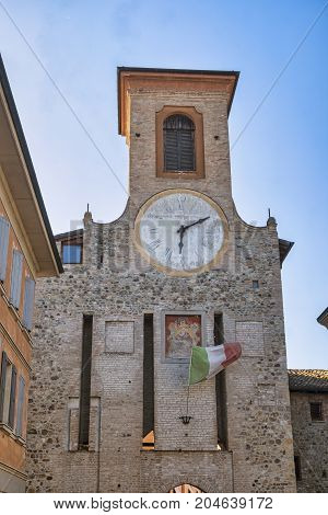 San Polo d'Enza (Reggio Emilia Emilia-Romagna italy): historic tower with clock and flag