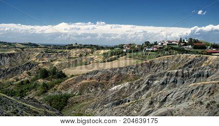 Summer landscape near Rivalta di Lesignano de Bagni (Parma Emilia-Romagna Italy) with the typical rocky inlets