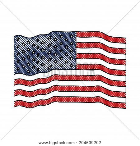 flag united states of america waving colored crayon silhouette vector illustration