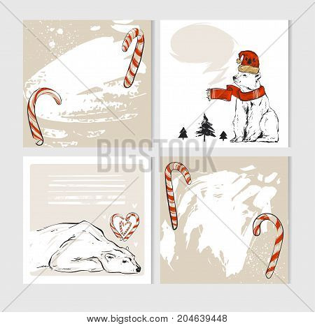 Hand made vector abstract Merry Christmas greeting cards set with cute xmas polar bear characters in winter clothing and candy canes.Greeting seasonal scrapbooking, stickers, diary, congratulations,