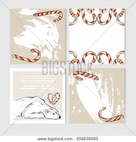 Hand made vector abstract Merry Christmas greeting cards set with cute xmas polar bear characters in winter clothing and candy canes.Greeting seasonal scrapbooking, stickers, diary, congratulations