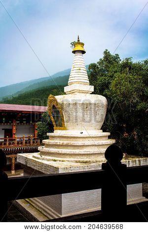 Stupa In Punakha Dzong (pungthang Dechen Phodrang Dzong - Palace Of Great Happiness) In Punakha, Bhu