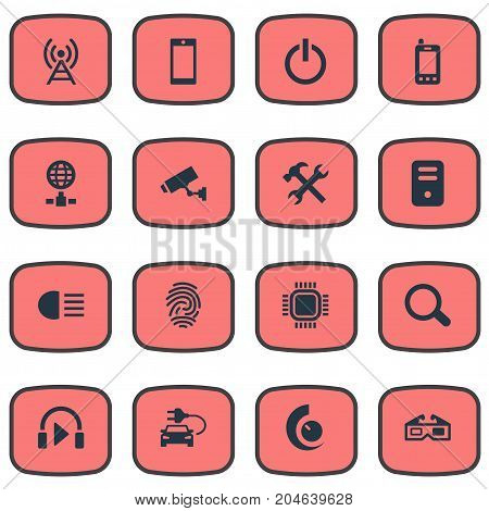 Elements Web Cam, Mobile, Player And Other Synonyms Player, Glasses And Movie.  Vector Illustration Set Of Simple Gadget Icons.