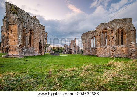 Egglestone Abbey Historic Monument, the remains of which can be found on the banks of River Tees, near Barnard Castle in County Durham