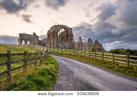 Road to Egglestone Abbey, the remains of which are on the banks of River Tees, near Barnard Castle in County Durham