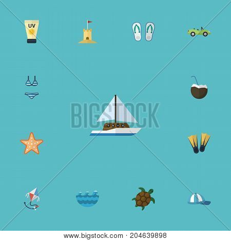 Flat Icons Slippers, Beachwear, Sailboard And Other Vector Elements