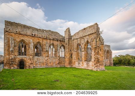 Gothic Arches of Egglestone Abbey, the remains can be found on the banks of River Tees, near Barnard Castle in County Durham