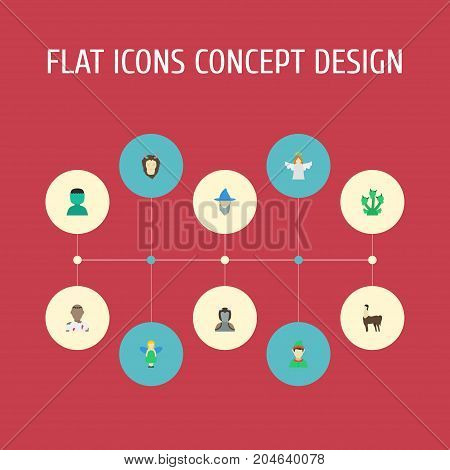 Flat Icons Halo, Monster, Avatar And Other Vector Elements