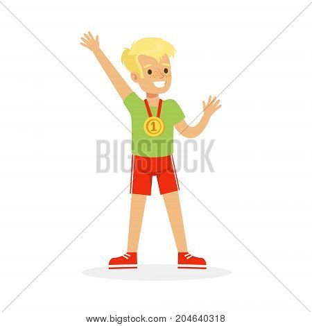 Young boy with a first place medal, kid celebrating his golden medal cartoon vector Illustration on a white background