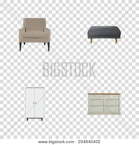 Realistic Footstool, Chair, Cupboard And Other Vector Elements