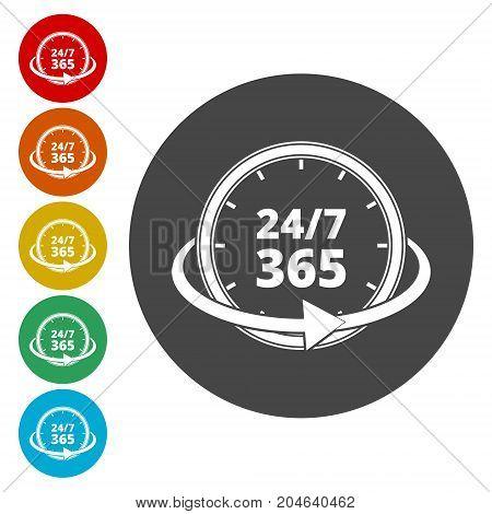 Open 24/7 - 365, 24/7 365 , simple vector icon